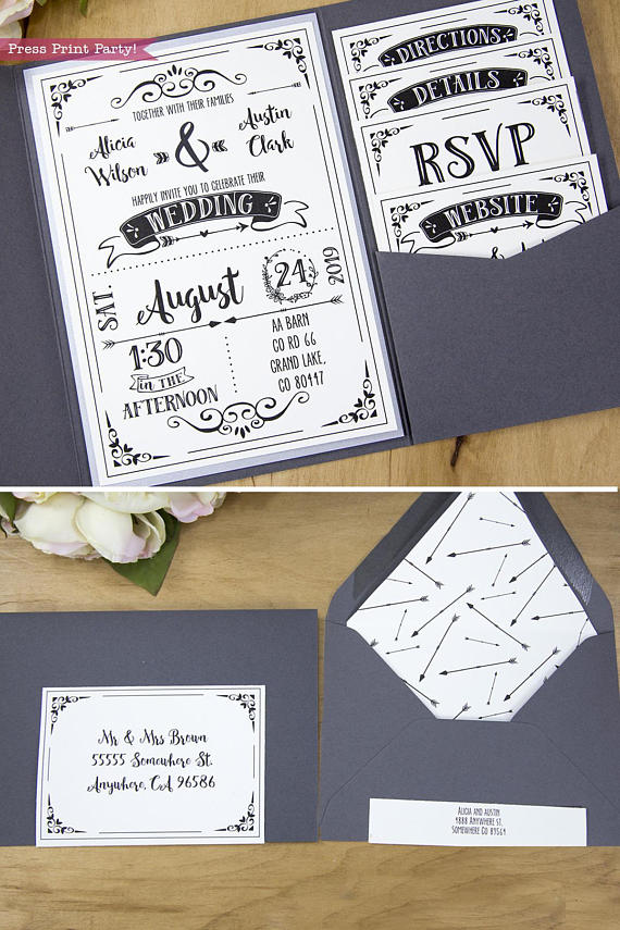 Rustic Wedding Invitations Printable Set Black