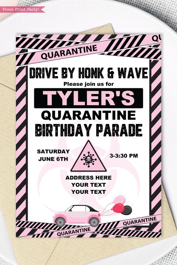 quarantine birthday invitation pink drive by birthday parade