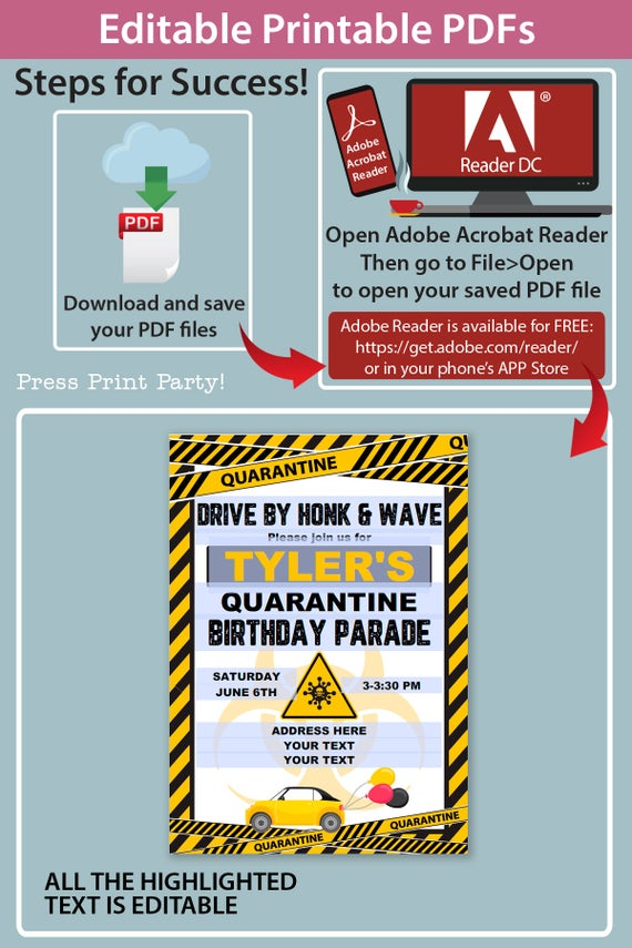quarantine birthday invitation yellow drive by birthday parade