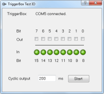 Figure 1: TriggerBox Test IO is the Brain Products application used to verify the TriggerBox is functioning correctly.