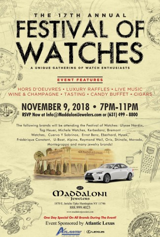 MADDALONI JEWELERS SET TO HOST 17TH ANNUAL FESTIVAL OF WATCHES IN LONG ISLAND NEW YORK 1