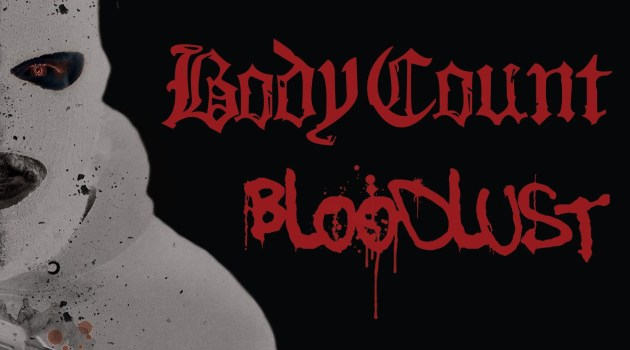 Albumcover:BLOODLUST BODYCOUNTumRap MusikerICE TstehenfürGangsterRapmitbrachialenMetal Gitarren