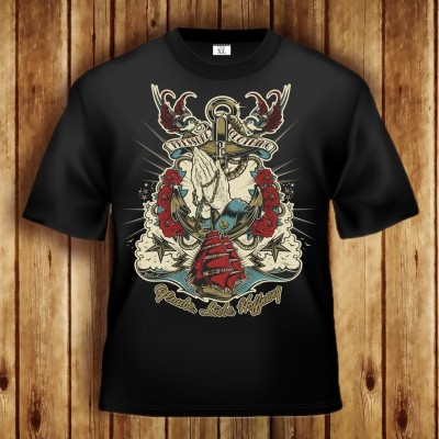 Glaube, Liebe, Hoffnung T-Shirt mit Kreuz, Rose, Schiff, Anker, Schwalben - Pressure Clothing