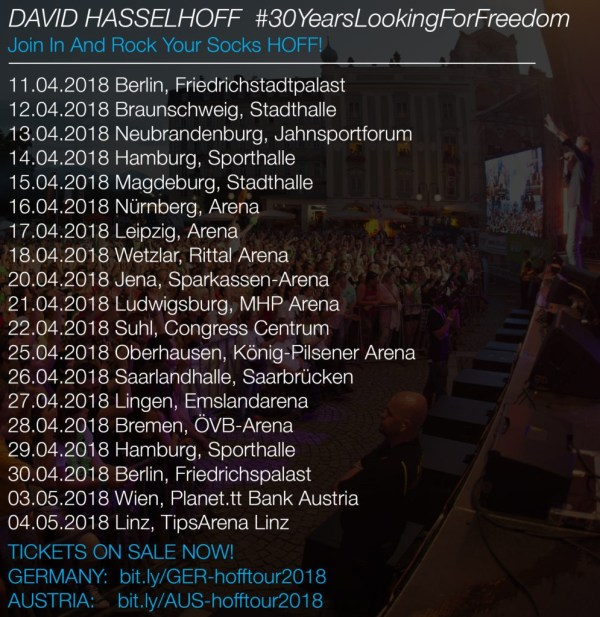 David Hasselhoff 30 Years Looking For Freedom Termine 2018