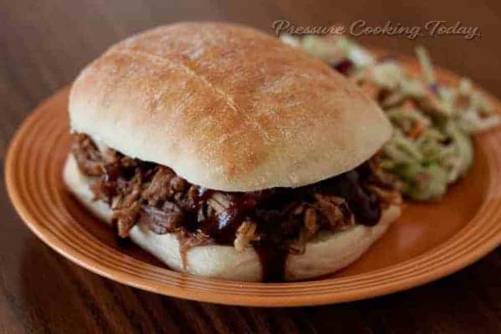 The flavor of slow cooked pulled pork in a fraction of the time by cooking in a pressure cooker.