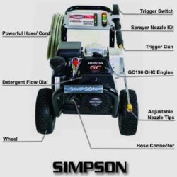 SIMPSON MSH3125-S 3100 PSI 2.5 GPM Gas Pressure Washer