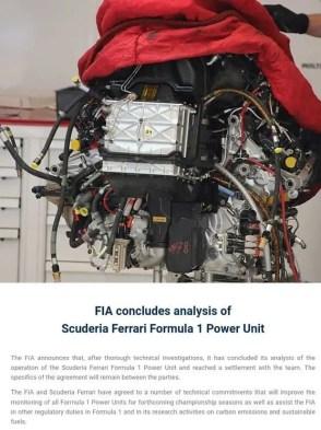 FIA investigation Ferrari PU