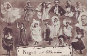 Alcuni dei personaggi di Leopoldo Fregoli in una delle sue cartoline