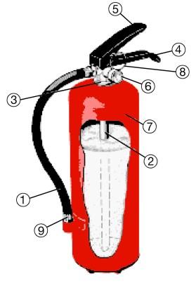 Hur fungerar en brandsläckare - Pulversläckare i genomskärning