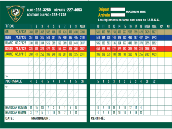 Carte de pointage Golf St-Georges