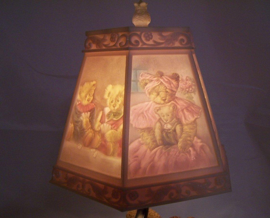 Teddy Bear Lamp W Bear Scene Shade Nursery Or Desk Nightlight Night Light