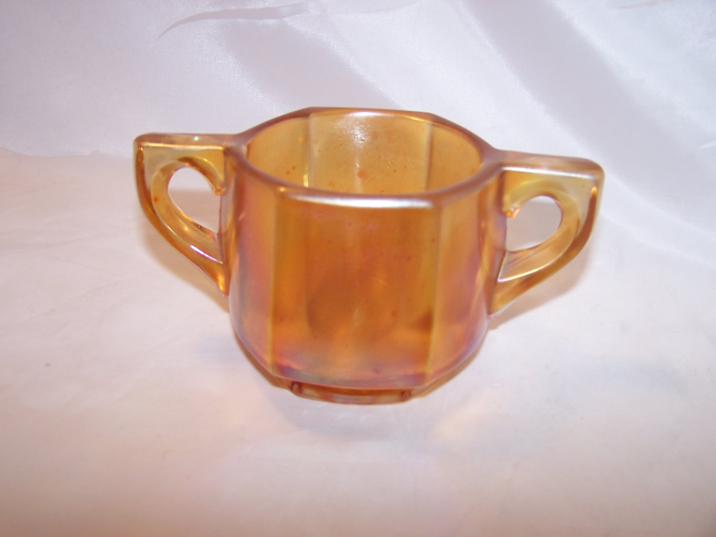 Yellow Carnival Glass Sugar Bowl Vintage Iridescent