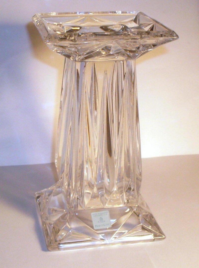 PartyLite Crystal Quad Prism Candle Pedestal Vase Lg OOS