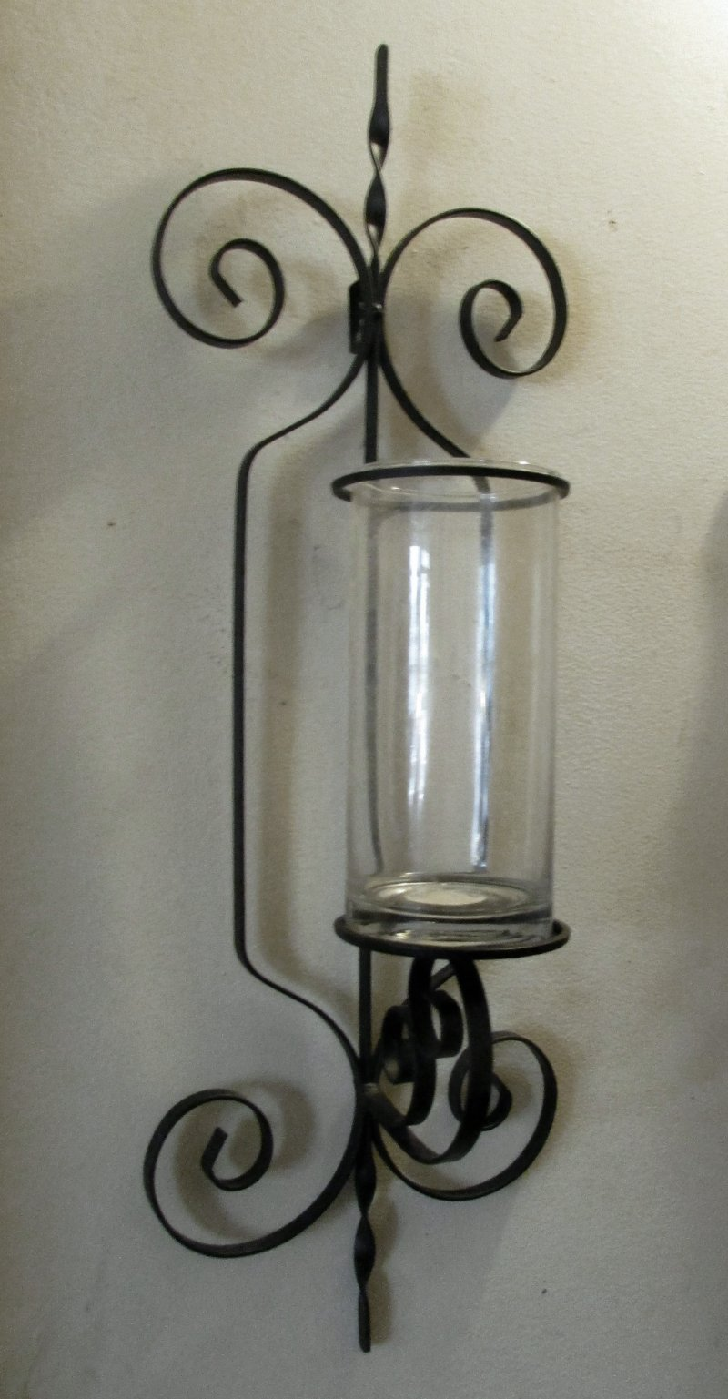 Wrought Iron Wall Sconce Candle Holder / Vase XL on Black Wrought Iron Wall Candle Holders id=62429