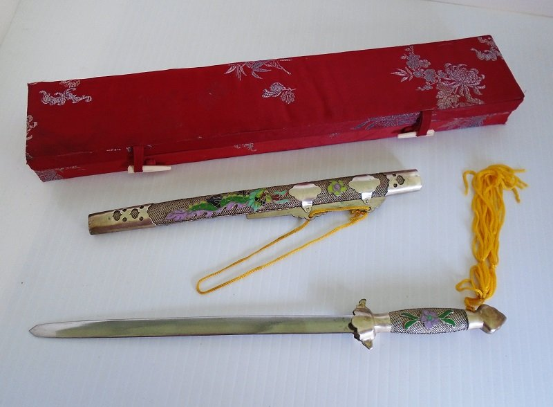 Vintage Chinese Letter Opener Sword W Sheath And Box