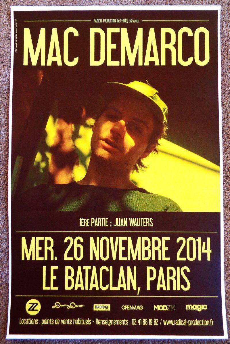 demarco mac demarco 2014 gig poster le bataclan paris concert france