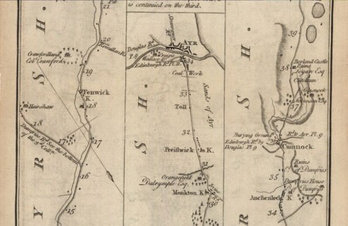 Prestwick Toll - 1776 Taylor Map