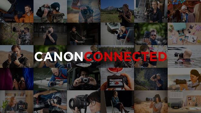 canon connected logo with background of photos