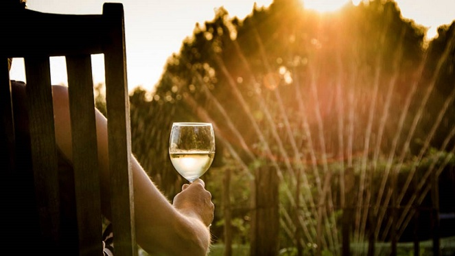 Woman in garden sipping on wine watching the sunset