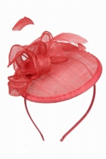Coral Sinamay Hat Fascinator With Aliceband Coral