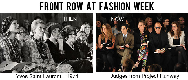 Front row fashion - yesterday versus today