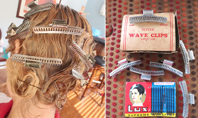 I love the 20s feminine ritual of pin curling one's hair. I bought these wave clips and Elizabeth Taylor bobby pins on eBay years ago. It takes about 15 minutes to set my hair,  and then you can either sit under a dryer or take them out before bed and wrap a silk scarf around your head so your hair doesn't frizz by morning. The curl stays in for several days.