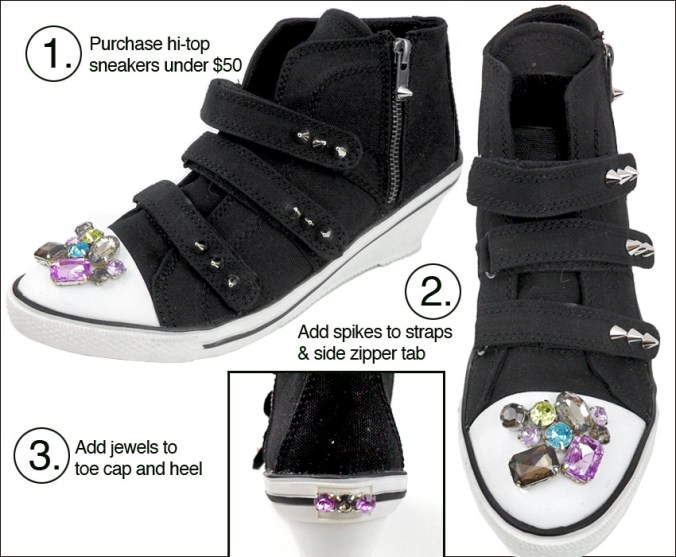 DIY punk studded sneakers
