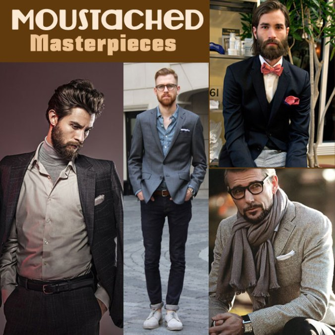 Men with moustache hipster trend
