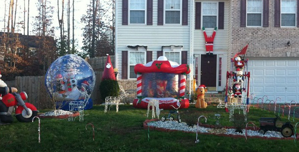 Ugly Christmas suburban lawn ornaments