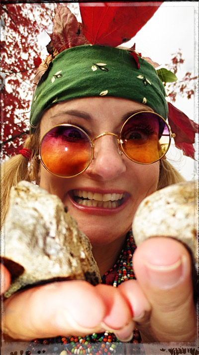 magda hippy with pet rocks