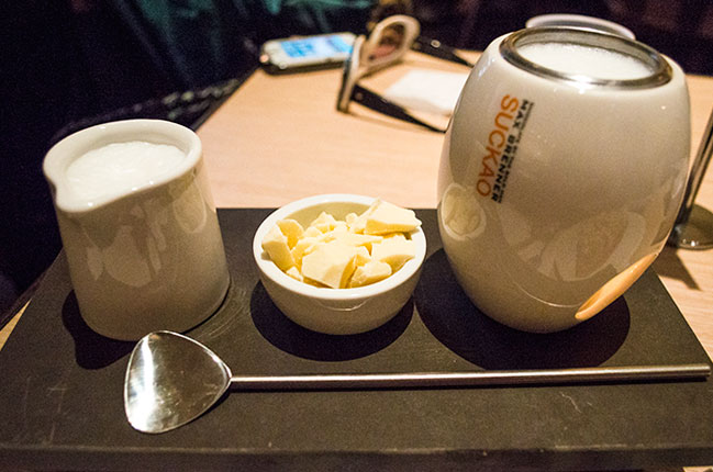 cup of hot white chocolate at max brenner in Paramus, NJ
