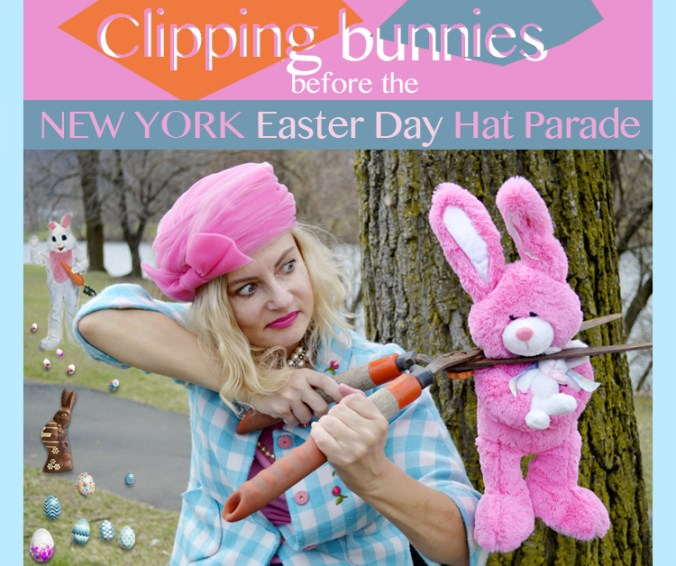 clipping bunnies before the NY Easter Day Hat Parade
