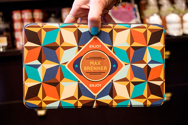 tin of chocolate at Max Brenner Paramus, NJ