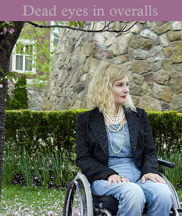 Wheelchair disabled blogger in overalls