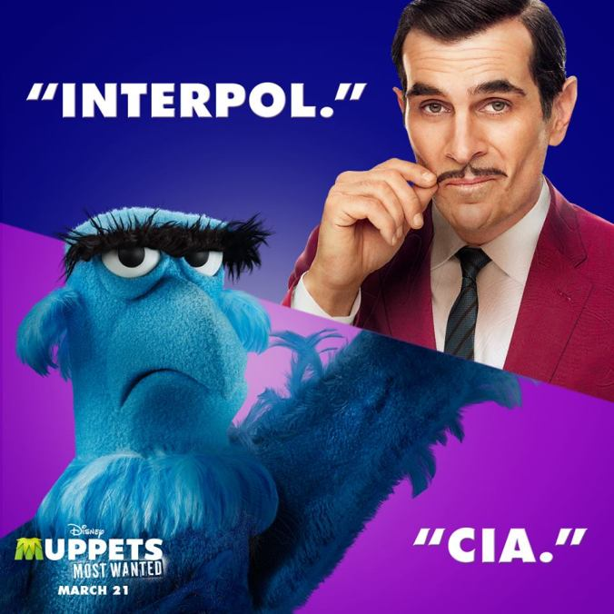 Sam Eagle and Ty Burrell in Muppets Most Wanted