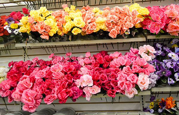 fake flowers at Dollar Tree