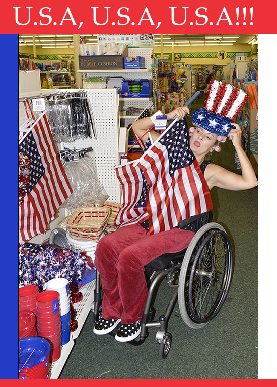 Patriotic wheelchair disabled girl