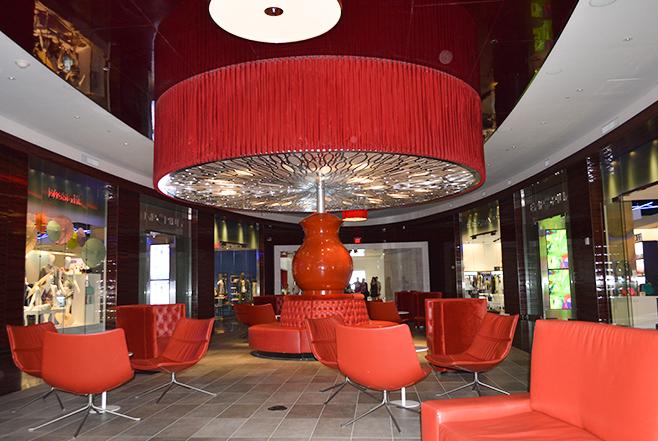 Red room sitting aread Revel Hotel AC, NJ