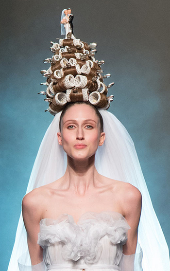Jean Paul Gaultier wedding bride updo couture week 2015