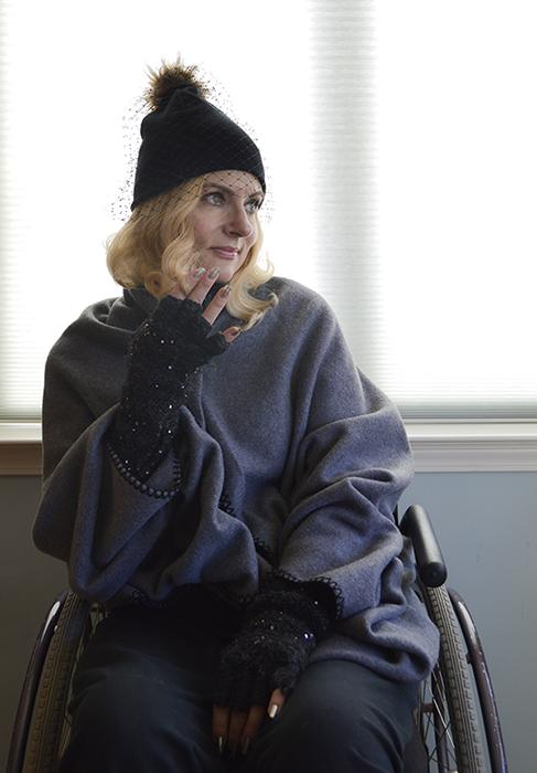 Wearing a blanket coat knitting