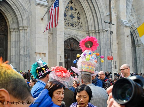 Woman with huge potted plant on her head easter hat parade