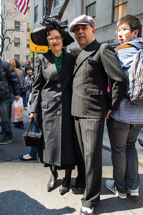 Vintage couple at nyc hat parade