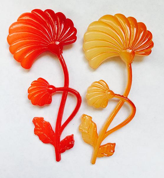floral lucite vintage pins