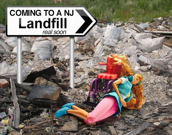 Coming to a NJ landfill near you. It's Wheelchair Barbie.