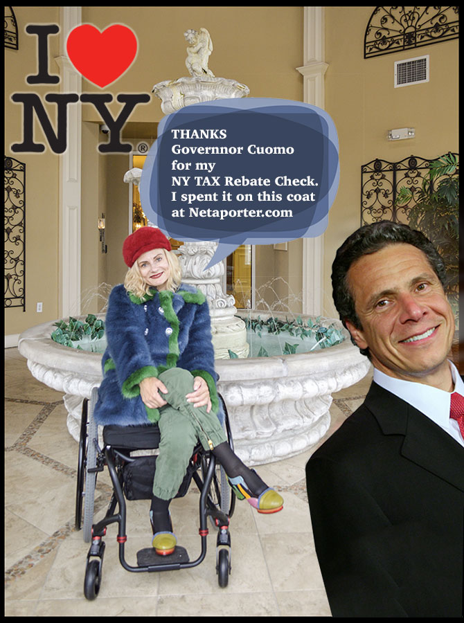 Governor Cuomo tax rebate and a constituent in her new faux fur Shrimps coat from Netaporter.com