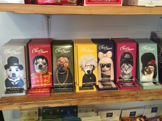 chocolate bars with cats and dogs as celebrity