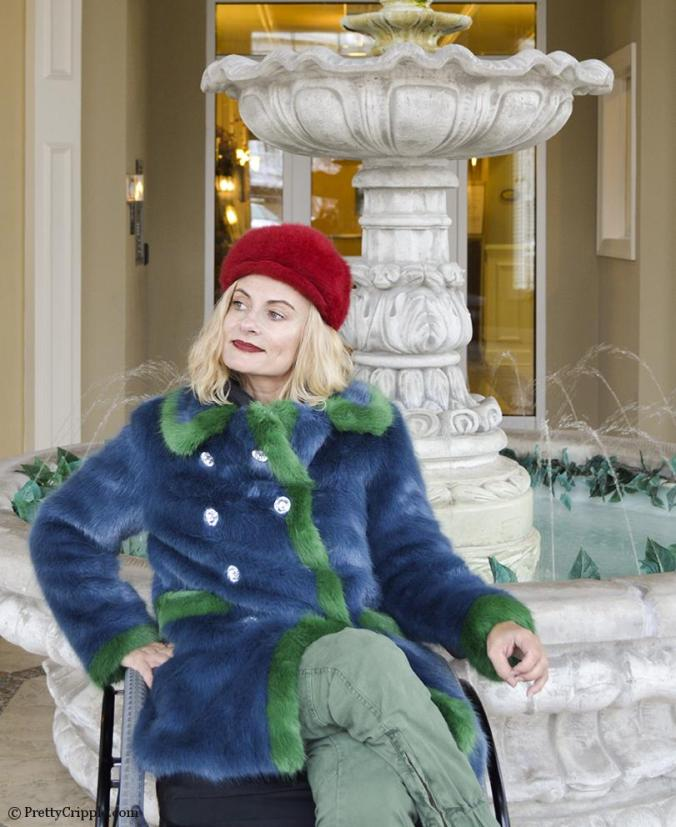 Wheelchair disabled street style in Shrimps coat 'Glinda'