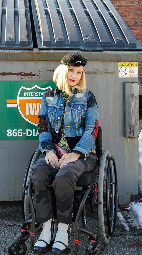 Wheelchair Disabled Street Style blogger wearing Junya Watanabe patchwork denim jacket