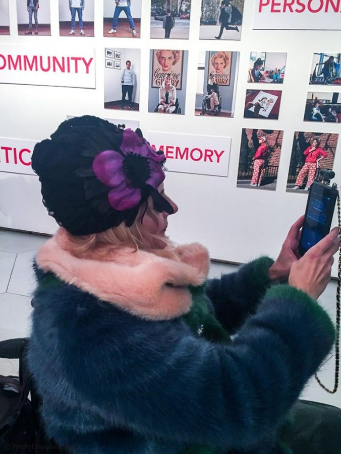 Magda PrettyCripple at the Parsons Dress and Emotion Exhibit
