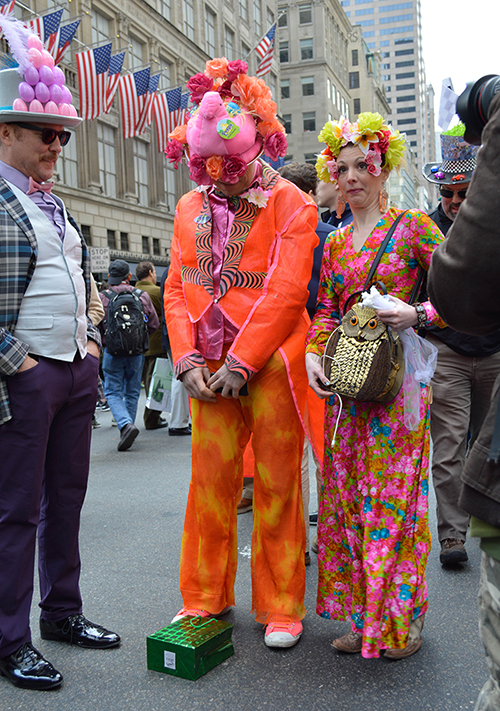 Psychedelic people at the easter hat parade 2016 nye
